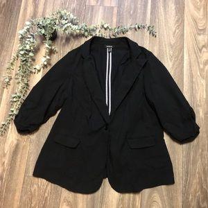 Torrid Black 3/4 Sleeve Blazer Jacket Size 2